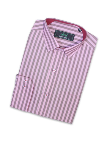 Cut Price Formal Dress Shirt For Men Pink Brown Stripes