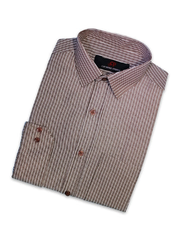Cut Price Formal Dress Shirt For Men Brown White Lines