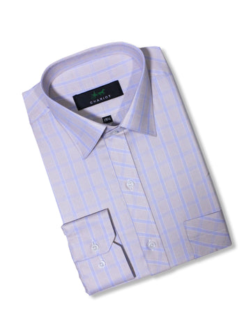 C12 Formal Dress Shirt For Men Cream Blue Box Lines