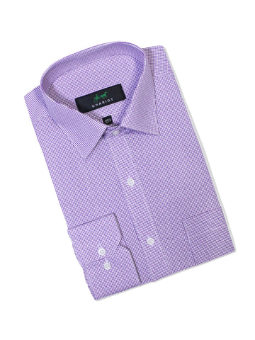 C12 Formal Dress Shirt For Men Purple White Mini Check