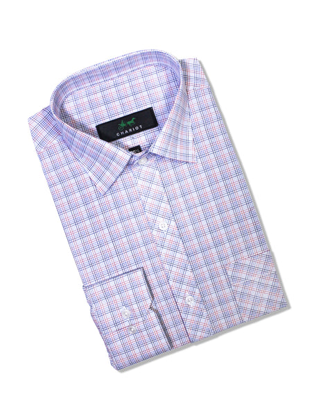C12 Formal Dress Shirt For Men White Red Multi Lines Check