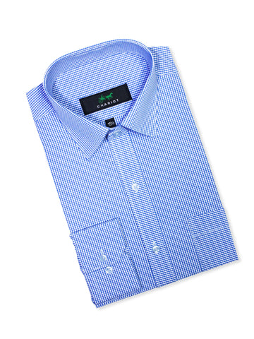 C12 Formal Dress Shirt For Men Blue White Mini Check