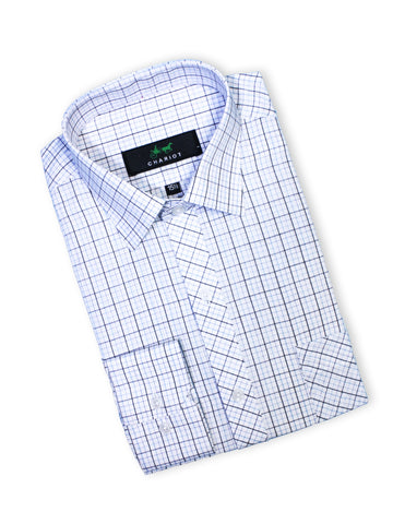 C12 Formal Dress Shirt For Men White Black Blue Lines Box