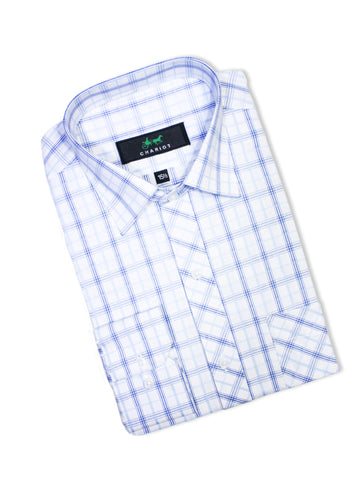 C12 Formal Dress Shirt For Men White Blue Multi Lines Cage