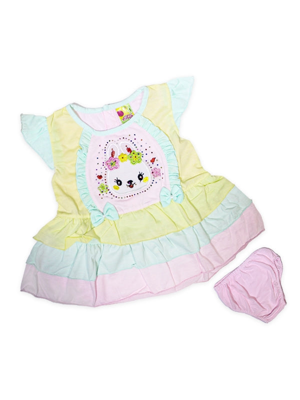 Cut Price Girls Frock Two Pcs Suit Baby Pink Bunny Flower