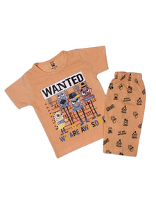 7949 Kids Suit 1YR-4YR Printed Wanted Peach