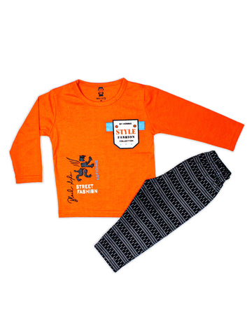 8037 Kids Suit 2YR-4YR Printed Style Orange