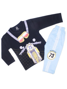 8037 Kids Suit 2YR-4YR Printed 73 Motor Bike Dark Navy Blue