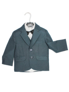 BS 1Yr to 14Yr 5 Pcs Coat Pant Suit For Boys Plain Slate Blue