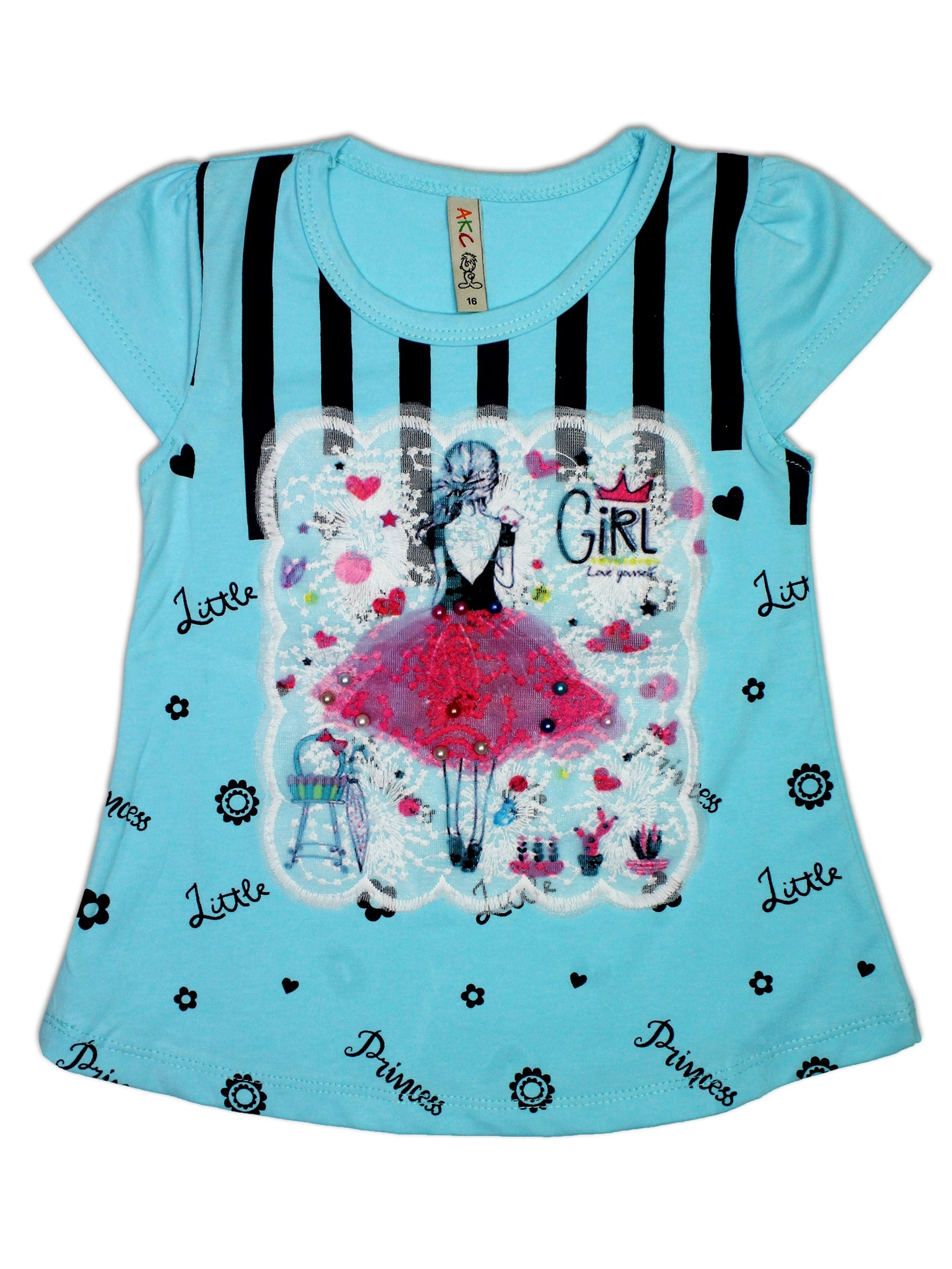 AK3 2.5Yrs - 8Yrs T-Shirt For Girls Net Embroidery Girl Style Soft Blue