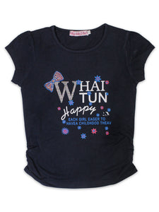 RXL T-Shirt For Girls Dull Blue Bow Whai