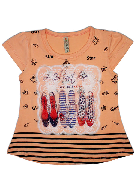 AK3 2.5Yrs - 8Yrs T-Shirt For Girls Net Embroidery Slipper Style Peach