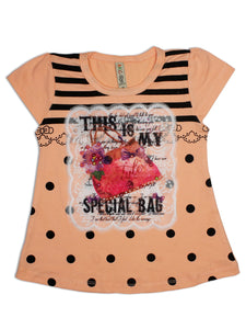 AK3 2.5Yrs - 8Yrs T-Shirt For Girls Net Embroidery Bag Style Peach