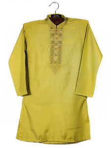 Cut Price Self Lining Embroidery Kurta for Boys 6-15 YR Lime Green