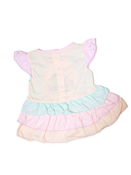 Cut Price Girls Frock Two Pcs Suit Peach Bunny Flower