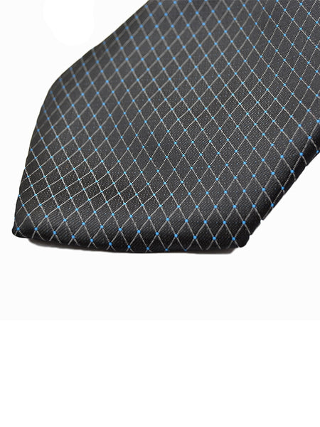 Tie Gift Box Set 3 Pcs Tie Cuff-Link Pocket Square Polygon Black Dots Sky Blue