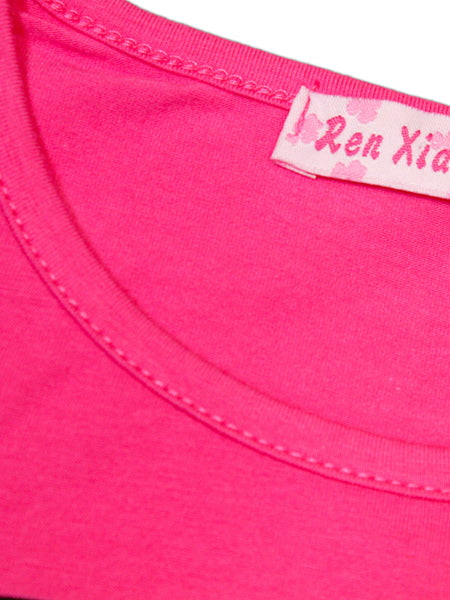 RXL T-Shirt For Girls Plain Pink Bell Elephant Bow
