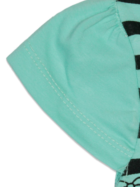 AK3 2.5Yrs - 8Yrs T-Shirt For Girls Net Embroidery Bag Style Sea Green