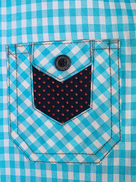 Cut Price Casual Shirt For Boys 8-16 Yrs Triangle Double Pocket Blue White Check