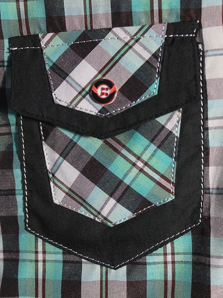 Cut Price Casual Shirt For Boys 8-16 Yrs Single Border Pocket Light Green Black Check