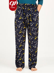 Ladies Casual Trouser Floral Print Yellow Daffodils
