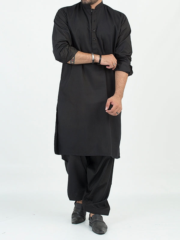 775/1 Cut Price Shalwar Kameez Suit Stitched Plain Sherwani Collar Black