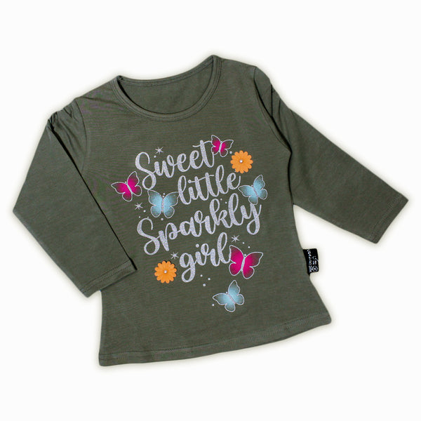 AT2 2.5Yrs - 7Yrs T-Shirt For Girls Sweet Little Girl Mud Green