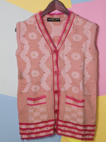 Women Sweaters Cardigan Sleeveless M1 Soft Pink