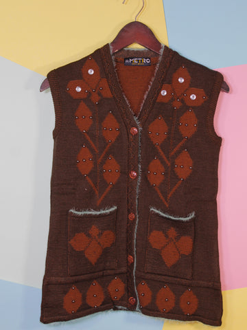 Women Sweaters Cardigan Sleeveless M1 Dark Brown