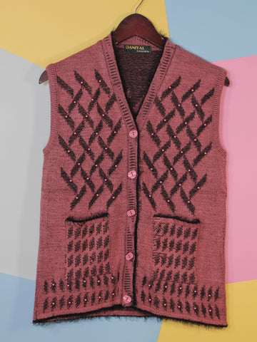 Women Sweaters Cardigan Sleeveless D1 Light Red