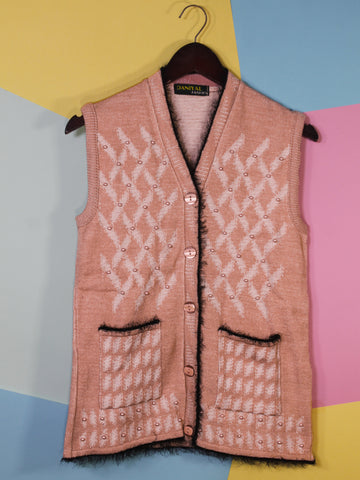 Women Sweaters Cardigan Sleeveless D1 Baby Pink