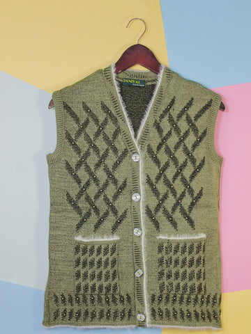 Women Sweaters Cardigan Sleeveless D1 Salte Green