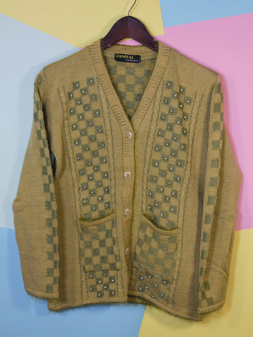 Women Sweaters Cardigan Full Sleeves C2 Wheat Yellow