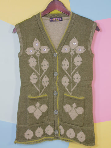 Women Sweaters Cardigan Sleeveless M1 Basil Green