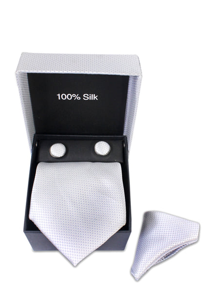 Tie Gift Box Set 3 Pcs Tie Cuff-Link Pocket Square Self White Textured