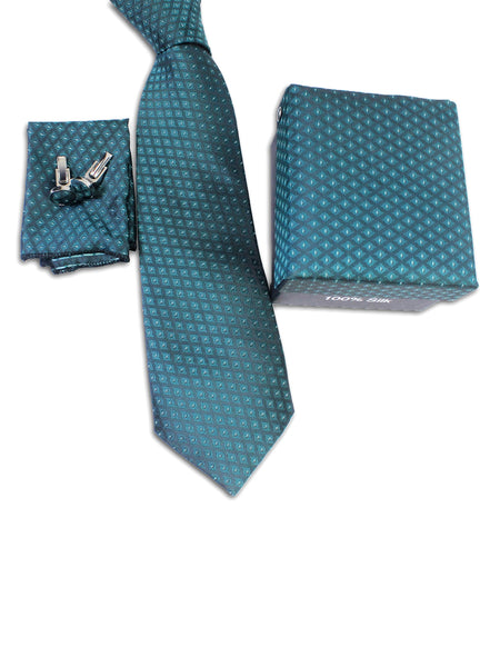 Tie Gift Box Set 3 Pcs Tie Cuff-Link Pocket Square Green Diamond