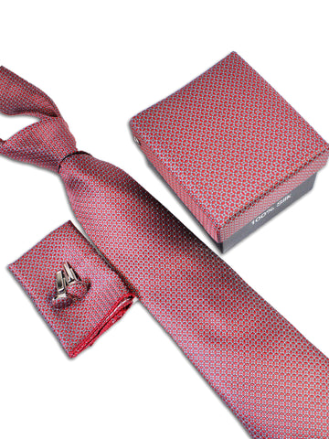 Tie Gift Box Set 3 Pcs Tie Cuff-Link Pocket Square Red Floral