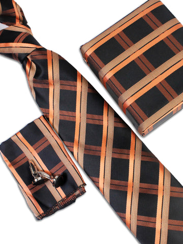 Tie Gift Box Set 3 Pcs Tie Cuff-Link Pocket Square Black Coral Checks