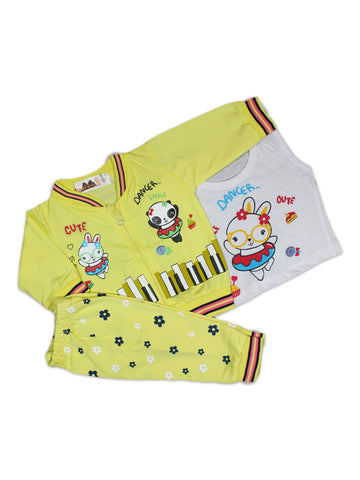 AKC New Born 3PCs Baby Suit 6Mth - 9Mth Printed Dancer Yellow