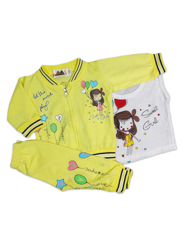 AKC New Born 3PCs Baby Suit 6Mth - 9Mth Printed Sweet Girl Yellow
