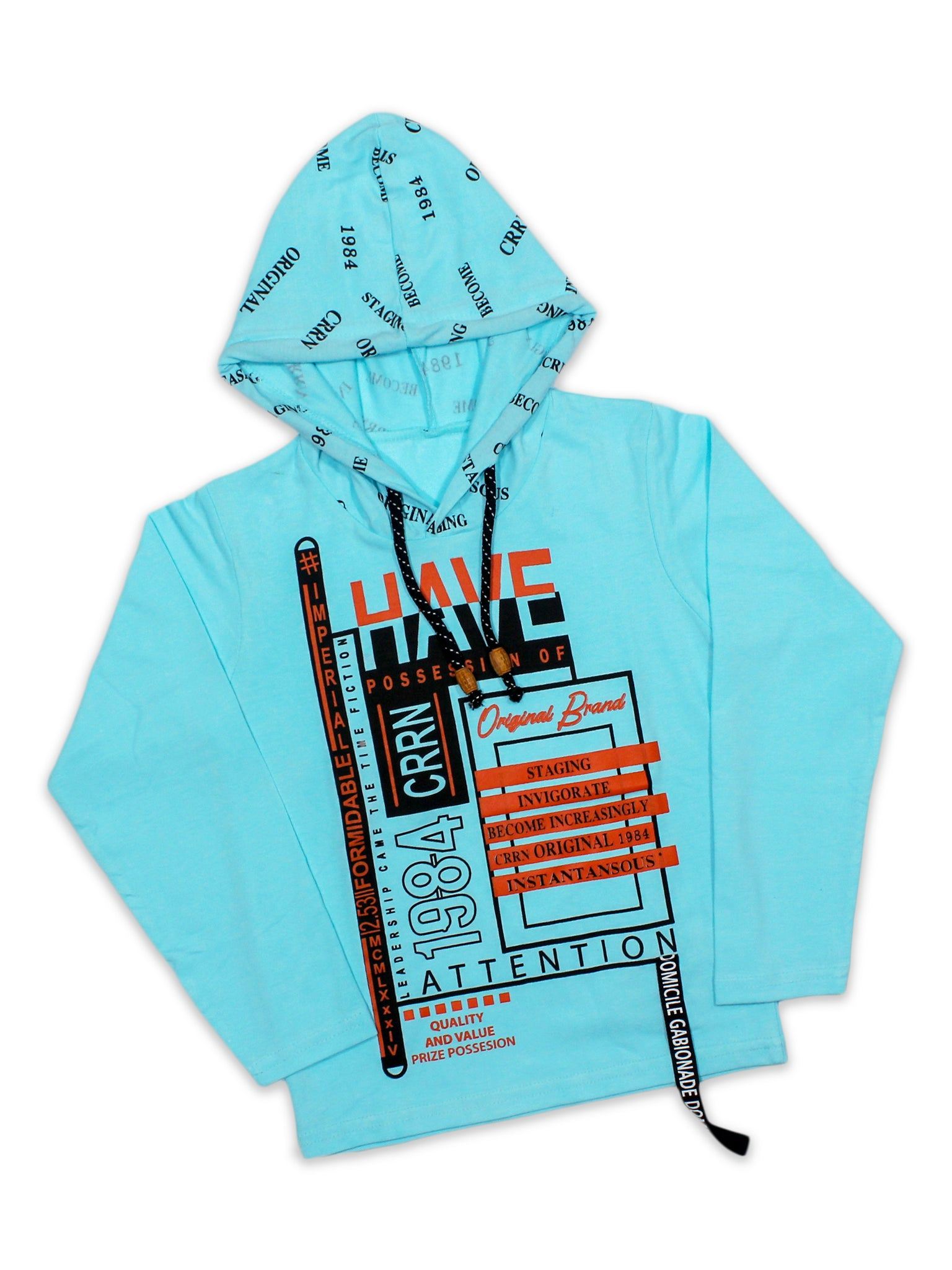 ATT Boys Hooded Neck T-Shirt 3 Yrs - 10 Yrs Printed Have Blue