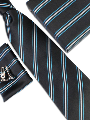 Tie Gift Box Set 3 Pcs Tie Cuff-Link Pocket Square Black Azure Stripes