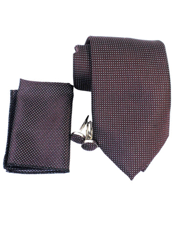 Tie Gift Box Set 3 Pcs Tie Cuff-Link Pocket Square Burgundy Micro Dots