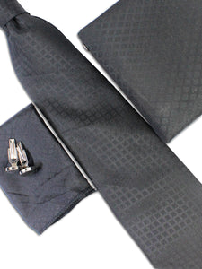Tie Gift Box Set 3 Pcs Tie Cuff-Link Pocket Square Black Diamond