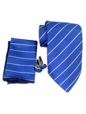 Tie Gift Box Set 3 Pcs Tie Cuff-Link Pocket Square Royel Blue Stripes