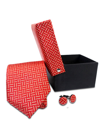 Tie Gift Box Set 3 Pcs Tie Cuff-Link Pocket Square Red