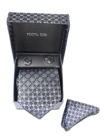 Tie Gift Box Set 3 Pcs Tie Cuff-Link Pocket Square Charcoal Black Box Textured