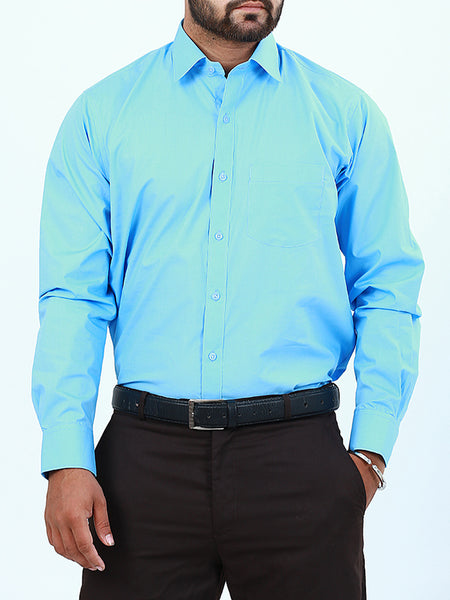 100% Cotton Formal Dress Shirt For Men Sky Blue