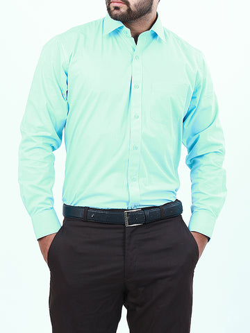 100% Cotton Formal Dress Shirt For Men Turquoise Blue
