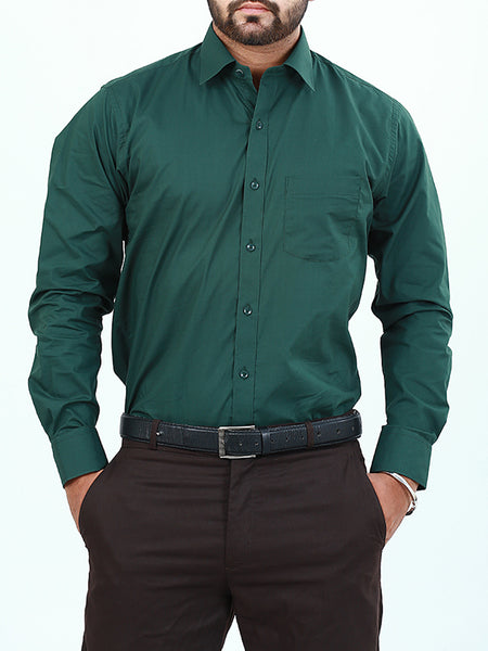 100% Cotton Formal Dress Shirt For Men Phthalo Green